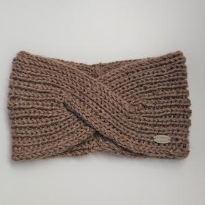 Gestricktes Stirnband in beige aus 100%  Alpaka, gekreuzter  Twist , handgestrickt von la piccola Antonella - Handarbeit kaufen