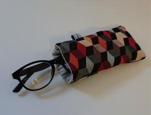 Brillenetui genäht mit bunten Würfeln / Cubes , Handmade by la piccola Antonella