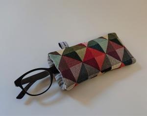 Brillenetui genäht mit bunten Dreiecken , Handmade by la piccola Antonella