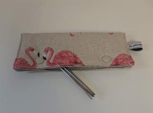 Stricknadelgarage , Stricknadeltasche mit Flamingos für Nadelspiel 15 cm - Handarbeit kaufen