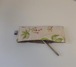 Stricknadelgarage , Stricknadeltasche mit Blumen für Nadelspiel 15 cm - Handarbeit kaufen