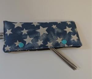 Stricknadelgarage , Stricknadeltasche mit Sternen für Nadelspiel 15 cm - Handarbeit kaufen
