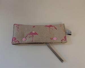 Stricknadelgarage , Stricknadeltasche mit Flamingos und Herzchen für Nadelspiel 15 cm - Handarbeit kaufen