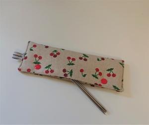 Stricknadelgarage , Stricknadeltasche mit Kirschen für Nadelspiel 20 cm - Handarbeit kaufen