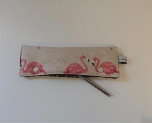Stricknadelgarage , Stricknadeltasche mit Flamingos für Nadelspiel 20 cm
