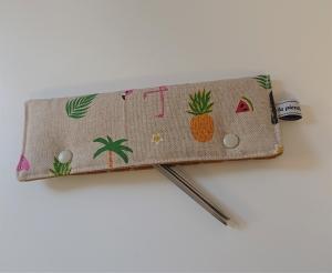 Stricknadelgarage , Stricknadeltasche mit Tieren und Früchte für Nadelspiel 20 cm - Handarbeit kaufen