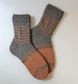 Gestrickte Socken für den Mann / Frau mit 14 % Yak,  Einstrickmuster und Ringel , Gr. 42/43 , handgestrickt von la piccola Antonella - Handarbeit kaufen