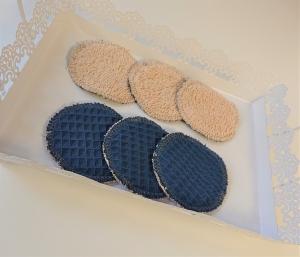 Kosmetikpads in beige blau, Abschminkpads aus Baumwolle,  Frottee ,waschbar - wiederverwendbar , Set mit  6 Stück in 8 cm, handmade by la piccola Antonella - Handarbeit kaufen