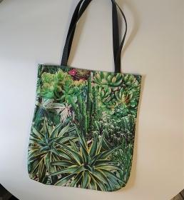Einfacher Shopper , Einkaufstasche, Beutel in grün mit Kakteen , Handmade by la piccola Antonella - Handarbeit kaufen