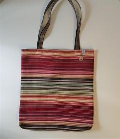 Einfacher Shopper , Einkaufstasche, Beutel in bunt gestreift, Handmade by la piccola Antonella - Handarbeit kaufen