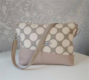 Umhängetasche grau beige mit großen Punkten und Kunstleder in zart rosa - Handarbeit kaufen