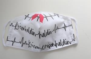 Mund - und Nasen - Maske, Krisenheldin -   aus Baumwolle , Molton, waschbar, 1 Stück , KEIN Virenschutz , handmade by la piccola Antonella - Handarbeit kaufen