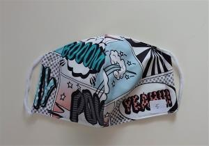 Mund - und Nasen - Maske  Comic  aus Baumwolle , Molton, waschbar, 1 Stück , KEIN Virenschutz , handmade by la piccola Antonella