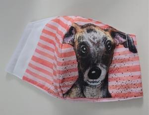 Mund - und Nasen - Maske  mit Tiermotiv aus Baumwolle , Molton, waschbar, 1 Stück , KEIN Virenschutz , handmade by la piccola Antonella