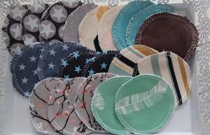 Kosmetikpads , Abschminkpads aus Baumwolle , bunt gemischtes Set mit 20 Stück in 8 cm , waschbar - wiederverwendbar , handmade by la piccola Antonella