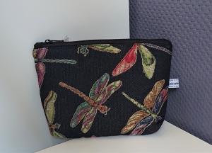 Kosmetiktasche mit Libellen, Schminktäschchen, Tasche für Allerlei Kram, Stifte etc.  Handmade by la piccola Antonella