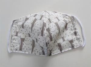 Mund - und Nasen - Maske mit Katzen in beige grau  aus Baumwolle , Molton, waschbar, 1 Stück , KEIN Virenschutz , handmade by la piccola Antonella