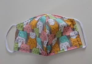 Mund - und Nasen - Maske  mit bunten Katzen aus Baumwolle , Molton, waschbar, 1 Stück , KEIN Virenschutz , handmade by la piccola Antonella - Handarbeit kaufen