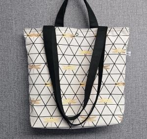 Einfacher Shopper, Henkeltasche mit goldenen Libellen , Einkaufstasche, Beutel , Handmade by la piccola Antonella - Handarbeit kaufen