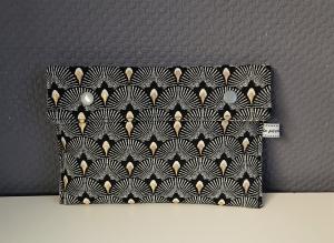 Universaltäschchen, Reiseetui, Clutch, Kosmetiktasche  in schwarz  gold, handmade by la piccola Antonella - Handarbeit kaufen