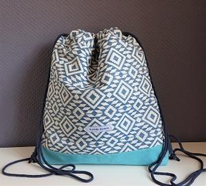 Turnbeutel, Festivaltasche in blau weiß mit graphischen Muster  , Handmade by la piccola Antonella - Handarbeit kaufen