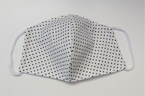 Mund - und Nasen - Maske 2 lagig aus dünner Baumwolle , weiß mit blauen Pünktchen , KEIN Virenschutz , handmade by la piccola Antonella - Handarbeit kaufen