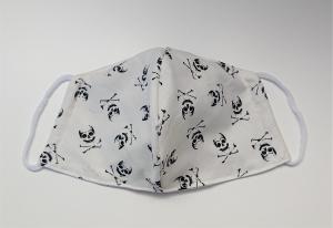 Mund - und Nasen - Maske 2 lagig aus dünner Baumwolle , mit Totenköpfen, KEIN Virenschutz , handmade by la piccola Antonella - Handarbeit kaufen