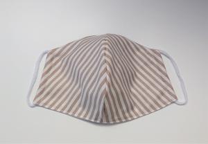 Mund - und Nasen - Maske 2 lagig aus dünner Baumwolle , mit Streifen in beige , KEIN Virenschutz , handmade by la piccola Antonella - Handarbeit kaufen