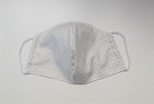 Mund - und Nasen - Maske 2 lagig aus dünner Baumwolle , weiß mit beigen Pünktchen , KEIN Virenschutz , handmade by la piccola Antonella - Handarbeit kaufen