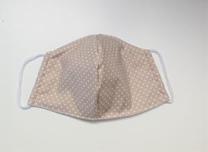 Mund - und Nasen - Maske 2 lagig aus dünner Baumwolle , beige mit weißen Pünktchen , KEIN Virenschutz , handmade by la piccola Antonella - Handarbeit kaufen