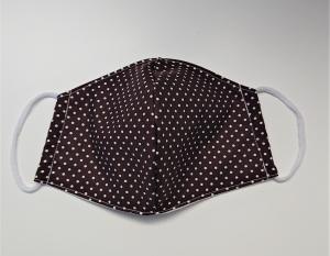 Mund - und Nasen - Maske 2 lagig aus dünner Baumwolle , braun mit weißen Pünktchen , KEIN Virenschutz , handmade by la piccola Antonella - Handarbeit kaufen