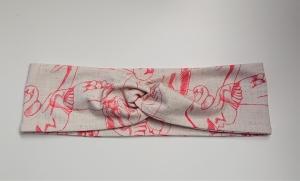 Stirnband , Knotenstirnband, Turbanstirnband, Bandeau, Haarband mit Schwänen, handmade by la piccola Antonella - Handarbeit kaufen