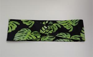 Stirnband , Knotenstirnband, Turbanstirnband, Bandeau, Haarband mit grünen Blättern, handmade by la piccola Antonella - Handarbeit kaufen