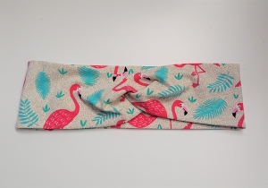 Stirnband , Knotenstirnband, Turbanstirnband, Bandeau, Haarband mit Flamingos, handmade by la piccola Antonella - Handarbeit kaufen