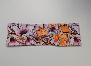 Stirnband , Knotenstirnband, Turbanstirnband, Bandeau, Haarband mit Magnolien in gelb, handmade by la piccola Antonella - Handarbeit kaufen