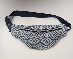 Bauchtasche in blau weiß mit Ethno Muster, tragbar auch als Crossbag, Umhängetasche, handmade by la piccola Antonella - Handarbeit kaufen