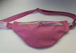 Bauchtasche in uni rosa mit bunten Reißverschluß, tragbar auch als Crossbag, Umhängetasche, handmade by la piccola Antonella - Handarbeit kaufen