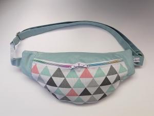 Bauchtasche Hüfttasche in mint mit bunten Dreicken, tragbar auch als Crossbag, Umhängetasche, handmade by la piccola Antonella