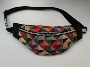 Bauchtasche Hüfttasche mit bunten Dreicken, tragbar auch als Crossbag, Umhängetasche, handmade by la piccola Antonella