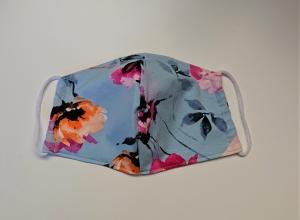 Mund - und Nasen - Maske 2 lagig mit Hibiskus in hellblau , KEIN Virenschutz , handmade by la piccola Antonella - Handarbeit kaufen