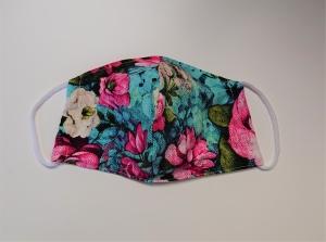 Mund - und Nasen - Maske 2 lagig mit bunten Blumen  - Handarbeit kaufen
