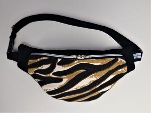 Bauchtasche Hüfttasche in schwarz und Tiger Optik, tragbar auch als Crossbag, Umhängetasche, handmade by la piccola Antonella - Handarbeit kaufen
