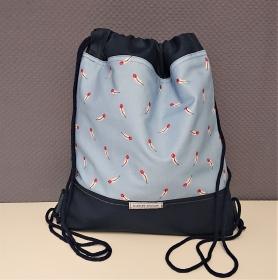 Turnbeutel, Festivaltasche, Rucksack mit Federn in hellblau marine , Handmade by la piccola Antonella - Handarbeit kaufen