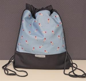 Turnbeutel, Festivaltasche, Rucksack mit Federn in hellblau dunkelgrau , Handmade by la piccola Antonella - Handarbeit kaufen