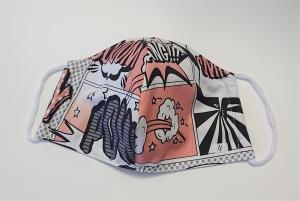 Mund - und Nasen - Maske  Comic Design aus Baumwolle , Innenstoff dünne Baumwolle, waschbar, 1 Stück , KEIN Virenschutz , handmade by la piccola Antonella - Handarbeit kaufen