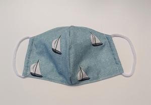Mund - und Nasen - Maske  mit Segelbooten aus Baumwolle , Innenstoff dünne Baumwolle, waschbar, 1 Stück , KEIN Virenschutz , handmade by la piccola Antonella - Handarbeit kaufen