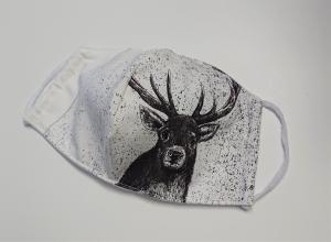 Mund - und Nasen - Maske  mit Tiermotiv Hirsch , Innenstoff dünne Baumwolle, waschbar, 1 Stück , KEIN Virenschutz , handmade by la piccola Antonella - Handarbeit kaufen
