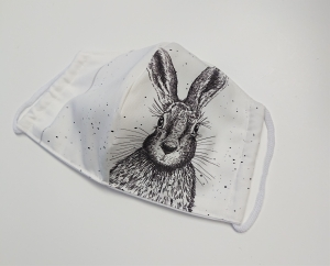 Mund - und Nasen - Maske  mit Tiermotiv Hase , Innenstoff dünne Baumwolle, waschbar, 1 Stück , KEIN Virenschutz , handmade by la piccola Antonella