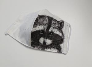 Mund - und Nasen - Maske  mit Tiermotiv Waschbär , Innenstoff dünne Baumwolle, waschbar, 1 Stück , KEIN Virenschutz , handmade by la piccola Antonella