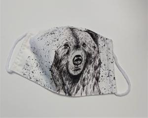 Mund - und Nasen - Maske  mit Tiermotiv Bär, Innenstoff dünne Baumwolle, waschbar, 1 Stück , KEIN Virenschutz , handmade by la piccola Antonella - Handarbeit kaufen